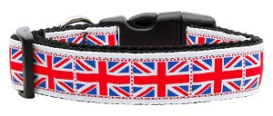 Tiled Union Jack(UK Flag) Nylon Ribbon Dog Collar XL
