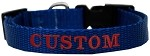 Custom Embroidered Made in the USA Nylon Dog Collar XS Blue