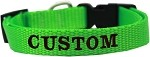 Custom Embroidered Made in the USA Nylon Dog Collar XS Hot Lime Green