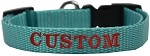 Custom Embroidered Made in the USA Nylon Dog Collar XS Ocean Blue