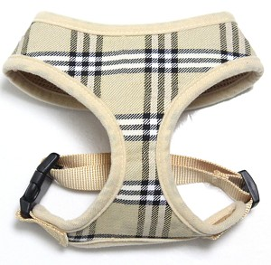Plaid Mesh Pet Harness Cream Small