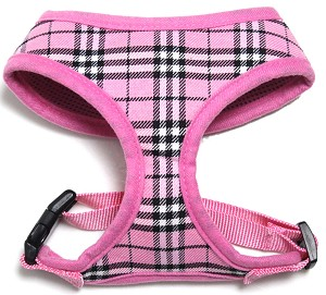 Plaid Mesh Pet Harness Light Pink Large