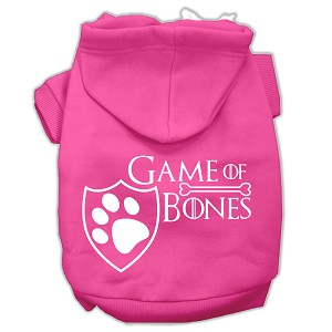 Game of Bones Screenprint Dog Hoodie Bright Pink M