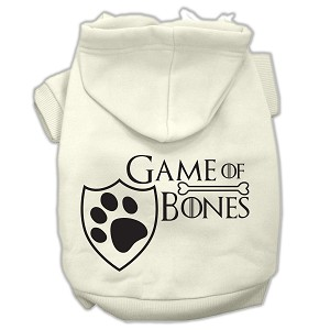 Game of Bones Screenprint Dog Hoodie Cream L