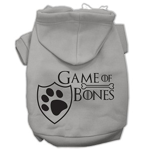 Game of Bones Screenprint Dog Hoodie Grey XS