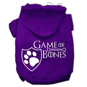 Game of Bones Screenprint Dog Hoodie Purple XXXL(20)