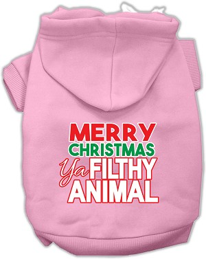 Ya Filthy Animal Screen Print Pet Hoodie Light Pink XXL (18)