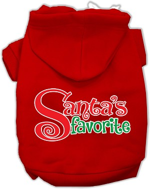Santas Favorite Screen Print Pet Hoodie Red Sm (10)