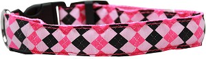 LED Dog Collar Argyle Pink Size Small
