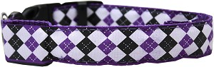 LED Dog Collar Argyle Purple Size Medium