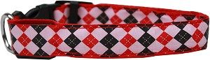 LED Dog Collar Argyle Red Size Small