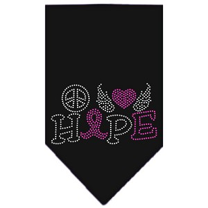 Peace Love Hope Breast Cancer Rhinestone Pet Bandana Black Size Large