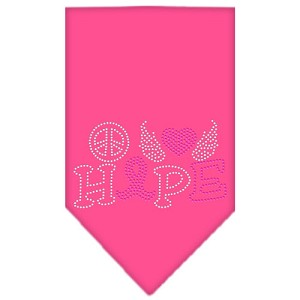Peace Love Hope Breast Cancer Rhinestone Pet Bandana Bright Pink Size Large