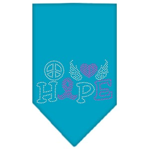Peace Love Hope Breast Cancer Rhinestone Pet Bandana Turquoise Size Large