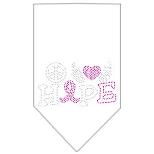 Peace Love Hope Breast Cancer Rhinestone Pet Bandana White Size Small