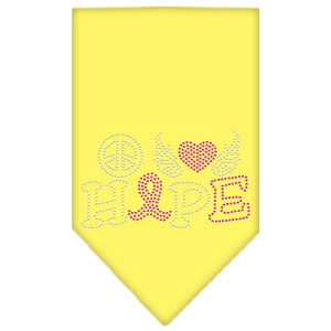 Peace Love Hope Breast Cancer Rhinestone Pet Bandana Yellow Size Small