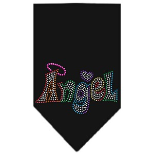 Technicolor Angel Rhinestone Pet Bandana Black Size Small
