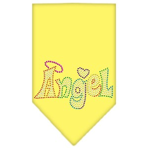 Technicolor Angel Rhinestone Pet Bandana Yellow Size Large