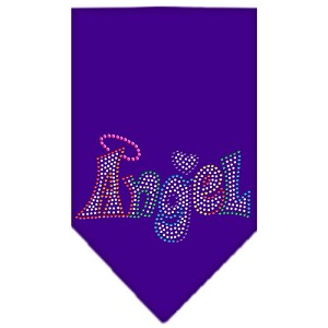Technicolor Angel Rhinestone Pet Bandana Purple Size Small