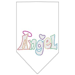 Technicolor Angel Rhinestone Pet Bandana White Size Small