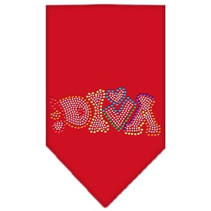 Technicolor Diva Rhinestone Pet Bandana Red Size Large