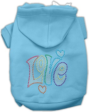 Technicolor Love Rhinestone Pet Hoodie Baby Blue Sm