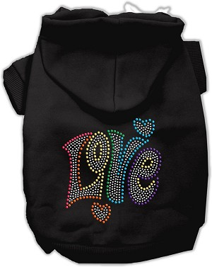 Technicolor Love Rhinestone Pet Hoodie Black XL