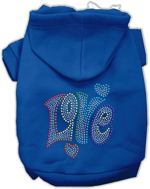 Technicolor Love Rhinestone Pet Hoodie Blue Med