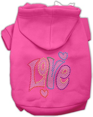 Technicolor Love Rhinestone Pet Hoodie Bright Pink Sm