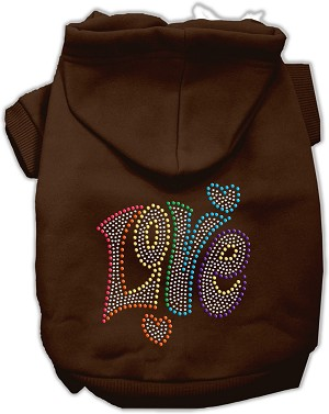 Technicolor Love Rhinestone Pet Hoodie Brown XXXL (20)