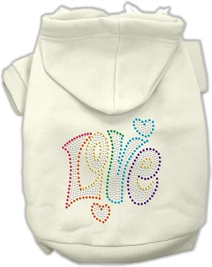 Technicolor Love Rhinestone Pet Hoodie Cream Sm (10)