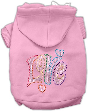 Technicolor Love Rhinestone Pet Hoodie Light Pink XXXL (20)