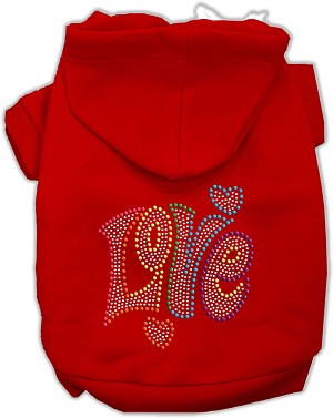 Technicolor Love Rhinestone Pet Hoodie Red XS