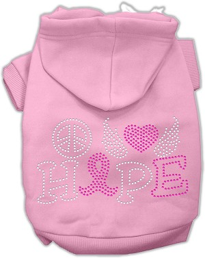 Peace Love Hope Breast Cancer Rhinestone Pet Hoodie Light Pink XXL