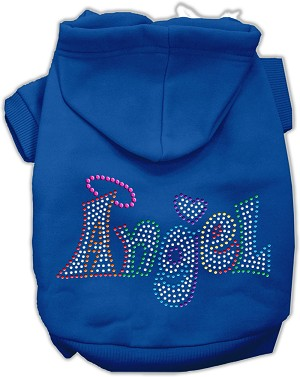Technicolor Angel Rhinestone Pet Hoodie Blue XS (8)