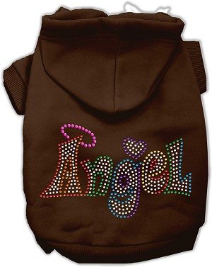 Technicolor Angel Rhinestone Pet Hoodie Brown XL