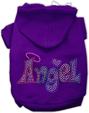 Technicolor Angel Rhinestone Pet Hoodie Purple Med (12)