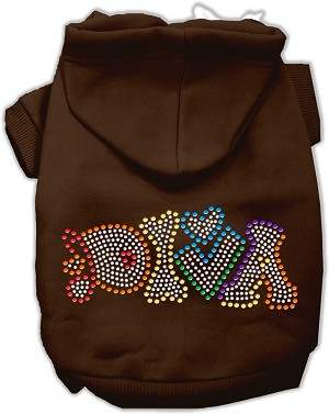 Technicolor Diva Rhinestone Pet Hoodie Brown XL (16)