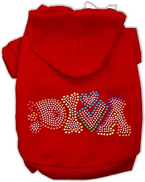 Technicolor Diva Rhinestone Pet Hoodie Red Sm