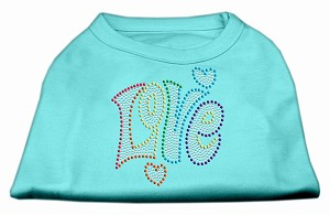 Technicolor Love Rhinestone Pet Shirt Aqua Lg