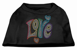Technicolor Love Rhinestone Pet Shirt Black Lg