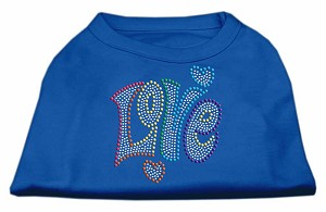 Technicolor Love Rhinestone Pet Shirt Blue Sm