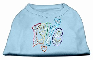 Technicolor Love Rhinestone Pet Shirt Baby Blue XXL