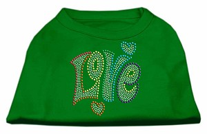 Technicolor Love Rhinestone Pet Shirt Emerald Green XL (16)