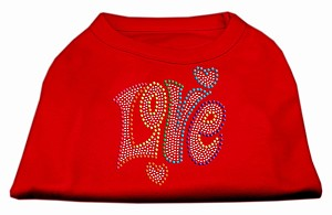 Technicolor Love Rhinestone Pet Shirt Red Med (12)