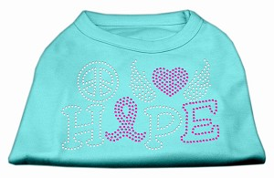 Peace Love Hope Breast Cancer Rhinestone Pet Shirt Aqua Med