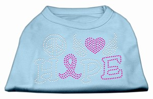 Peace Love Hope Breast Cancer Rhinestone Pet Shirt Baby Blue XXXL