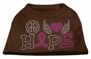 Peace Love Hope Breast Cancer Rhinestone Pet Shirt Brown XXXL (20)