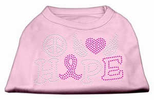 Peace Love Hope Breast Cancer Rhinestone Pet Shirt Light Pink XL