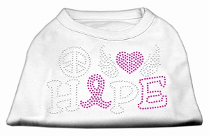 Peace Love Hope Breast Cancer Rhinestone Pet Shirt White XS (8)